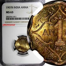 India-British Edward VII 1907 (B) 1 Anna NGC MS63 NICE TONING KM# 504