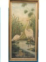 """FANTASTIC EARLY 20 CENTURY PAINTING EGRETS ~ 34"""" x 15"""""""