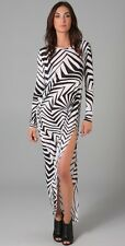 new THAKOON SILK BLEND DRAPED SLIMMING SEXY MAXI DRESS L 14 / 16 last