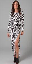 new THAKOON SILK BLEND DRAPED SLIMMING SEXY MAXI DRESS L 14 16 last