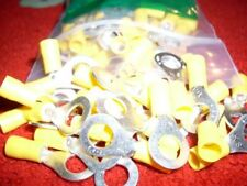 CRIMP TERMINALS YELLOW INSULATED RING 8MM HOLE 50PACK
