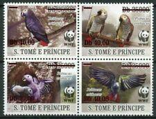 More details for sao tome & principe wwf stamps 2020 mnh grey parrots birds red ovpt 4v block