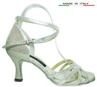 MONDIAL SHOES 05 scarpe da ballo sandali donna tacco 70/R argento pelle aperti