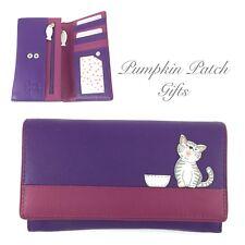 Medium Flap Over PURPLE Purse Wallet MALA LEATHER Ziggy Cat Kitten 3411_99
