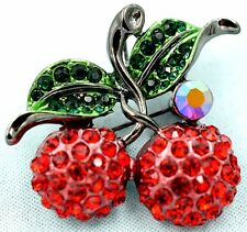 Cherries Charm Pin Brooch Cherry Crystal Rhinestone Fruit Bling Jewelry Red ZD08
