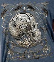 Sugar Skull Profile T-shirt Calavera Womens S-2X New Scoop Neck Vintage Navy