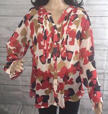 Ellen Tracy Blouse Size 14 Semi-Sheer Red Heart Print Floral Design Sexy Style