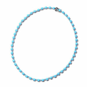 Arizona Sleeping Beauty Turquoise Apatite Tennis Necklace 925 Silver 18 inch