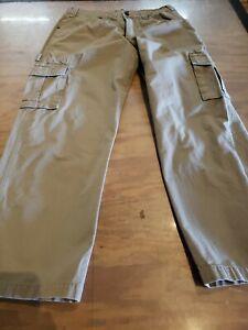 Cabelas Cargo Pants Sz 34/30 Hunting Work RIP STOP KHAKI R7B