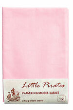 2 x Baby Pram Crib Moses Basket  Flat Sheet 100% Cotton Pink
