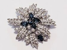 Blue Crystal Pave Flower Brooch Nolan Miller White and Sapphire