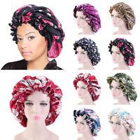 Large Satin Bonnets Cap Hats Women African Pattern Print Night Sleep Hat Turban