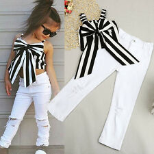 Toddler Kids Girl Striped Big Bow T-shirt Crop Top+Long Hole Jeans Pants Outfits