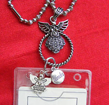 Guardian Angel Miracle Charms ID Badge Tag Key Glass Holder Necklace Lanyard NEW