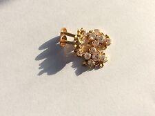 Handmade Solid 916 20kt 22k yellow gold Indian white stones screw back earrings