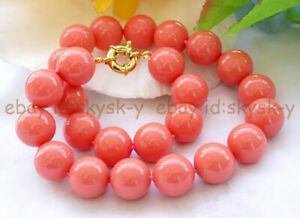 Pretty 8/10/12mm South Sea Coral Pink Shell Pearl Round Beads Necklace 18-50''