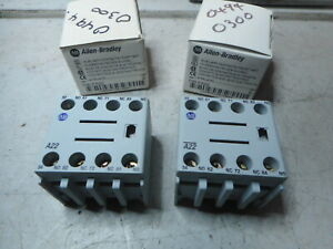 Allen Bradley Auxiliary Contact blocks -- Qty of  2 -- 2 x NC 2 x NO - 100-FA22
