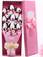 Hot 9pc Pink Snoopy Dog Plush Toys Doll flowers Birthday Creative Graduation A++
