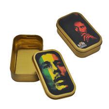1 X Portable BOB MARLEY Small Metal Tin Gold Tobacco Cigarette Storage Box Case
