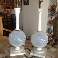 VINTAGE PAIR BAROVIER TOSO ITALIAN MURANO MARBLE GLASS TABLE LAMPS MCM