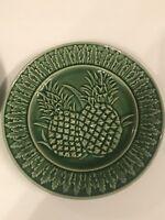 "(2) Set BORDALLO PINHEIRO Green PINEAPPLE 8.25"" SALAD SIDE PLATES - Discontinued"