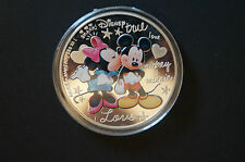 "Mickey Mouse and Minnie Mouse -""True Love"" -Silver Plated Souvenir Coin in Case."