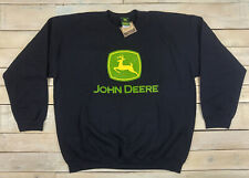 New Official JOHN DEERE Graphic Black Pullover Crew Neck Sweater Size XL