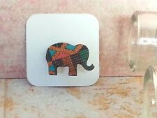 Elephant Wood Brooch, Mini animal brooch, nature gift, wooden jewellery Kente