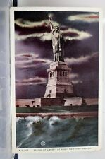 New York NY NYC Statue of Liberty Harbor Night Postcard Old Vintage Card View PC