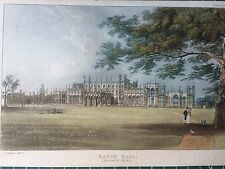 1826 Print; Entrance Front of Eaton Hall, Cheshire by Ackermann and John Gendall
