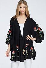 NWT Kimono black Bird Embroidered Floral Open Swingy Flounce Jacket Cardigan L
