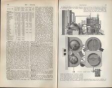 Lithografie 1907: BIERBRAUEREI. Malz Quetsche Maisch-Apparat Sudhaus Kühlschiff
