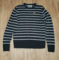Guinness Mens Small Sweater Black Gray Stripe