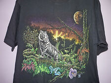 Vintage 90s White Tiger In The Jungle T Shirt Black XL
