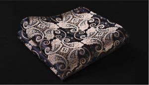 Men's Navy Blue & Gold Floral Paisley Wedding Silk Pocket Square Handkerchief