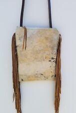 Western Acid Wash Cowhide Floral Leather Cross Body Rodeo Purse w/ Fringe DA18