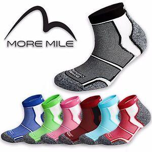 5 Pairs More Mile Sports Running Socks Cushioned COOLMAX  Mens Ladies Womens