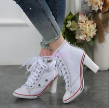 Womens Rivet Chic High Chunky Heel Denim New Canvas Lace Up High Top Sneaker Hot