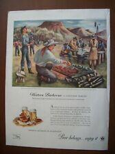1945 Vintage Original Magazine Ad Beer & Ale Western Barbeque llustrated MARTIN