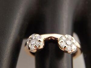 14k YG Designer .50 tcw Diamond E/VS Wrap Guard Holds Round Solitaire Wedding