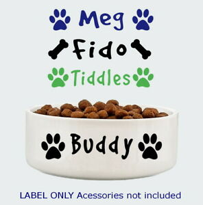Dog Cat Personalised Pet Bowl Name Decal Sticker Self-adhesive (Label Only)