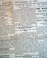 Rare DAVENPORT Iowa Civil War Era w/ Battle of Cheat Mountain WV 1861 Newspaper