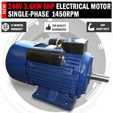 NEW Single Phase 240v 5hp Electric Motor Single Phase 1450 rpm 4 pole 3.6KW