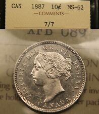 1887 7/7 ICCS MS-62 Canada Silver 10 Cents. Very Scarce.