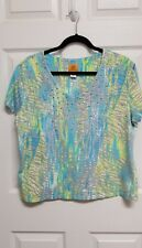 Ruby Rd Size XL Cap Sleeve V-Neck Lime Turquoise Silver Dot Embellished Pullover