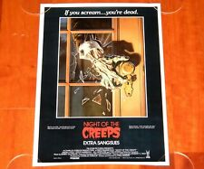ORIGINAL MOVIE POSTER NIGHT OF THE CREEPS 1986 UNFOLDED BELGIAN THEATRICAL