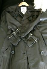 BB Dakota Black Leather Trench Coat with zippers and buckles Small Rare Find!!!!