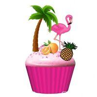 20 Eßbar Tortenaufleger Flamingo NEU Muffinaufleger Party Deko Hawaii Strand