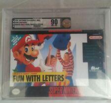 Mario's E.Y. Fun With Letters: (Super Nintendo, SNES) NEW SEALED VGA 90, GOLD!