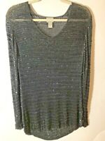 Chico's Women's Size 1 Medium Gray Sequin V Neck Long Sleeve Knit Tunic Top